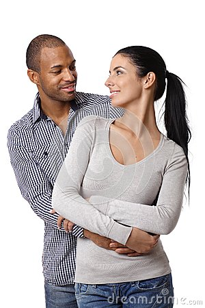Diverse loving couple smiling