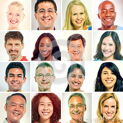 Free Diverse Of Human Faces In A Row. Stock Photo - 43694850