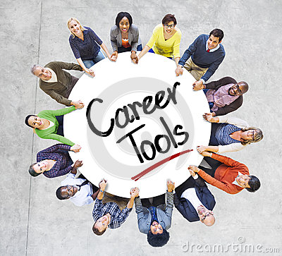 Diverse People in a Circle with Career Tools Concept