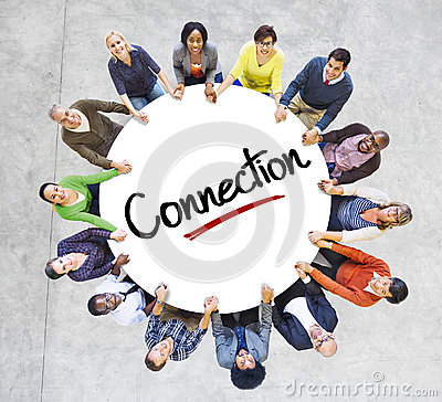 Diverse People in a Circle with Connection Concept