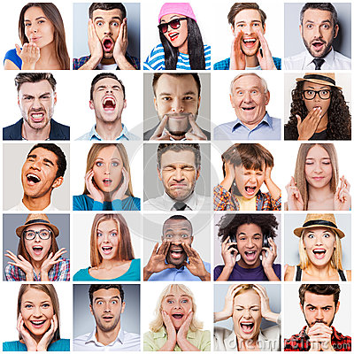 Free Diverse People With Different Emotions. Stock Image - 55809901