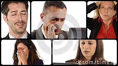 Diverse portretten van mensen met ongerust gemaakte uitdrukkingen stock videobeelden