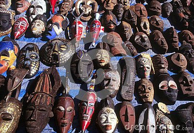 diverse range of masks on display stock photo image 42614362