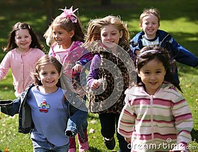 Diverse running kids