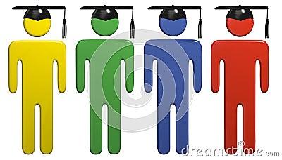 Diverse school education graduation cap students