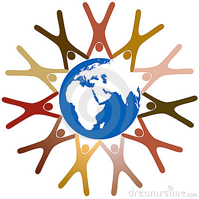 Diverse symbol people hold hands around earth