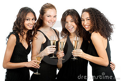 Diverse Teenagers with Wineglasses