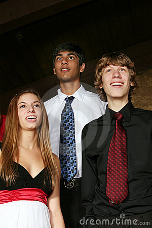 Diverse teens singing