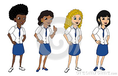 Diverse women in uniforms cartoon