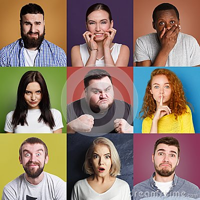 Free Diverse Young People Positive And Negative Emotions Set Royalty Free Stock Photo - 117146305