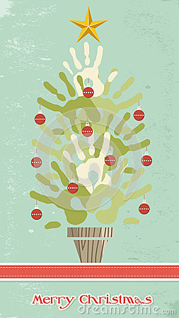 Diversity Christmas Tree Hands Card Stock Photos - Image: 26095973