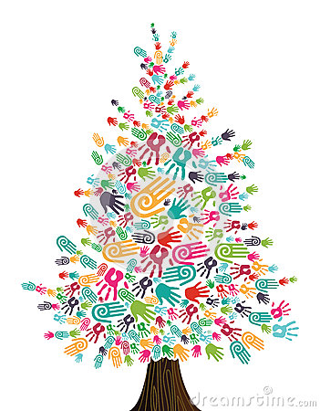 Free Diversity Christmas Tree Hands Isolated Royalty Free Stock Images - 26096039
