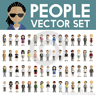 Free Diversity Community People Flat Design Icons Concept Royalty Free Stock Photography - 72276757