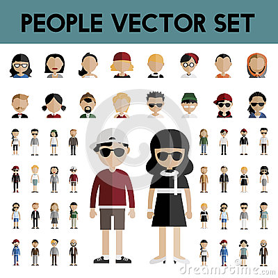 Free Diversity Community People Flat Design Icons Concept Stock Image - 72518681