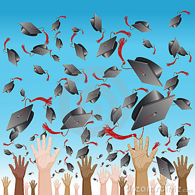 Free Diversity Graduation Day Cap Toss Stock Photo - 22981870
