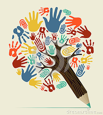 Free Diversity Hand Concept Pencil Tree Stock Image - 32017681