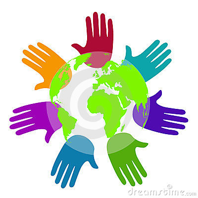 Diversity hands around the world
