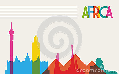 Diversity monuments of Africa, famous landmark col