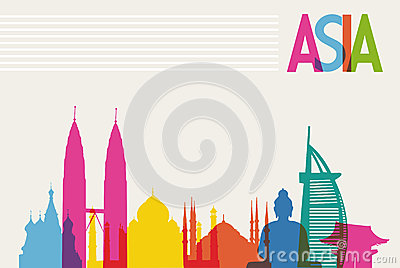 Diversity monuments of Asia, famous landmark color