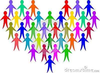 Diversity People Heart/eps Vector Illustration