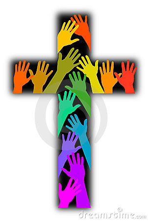 Diversity Rainbow Cross Stock Photo