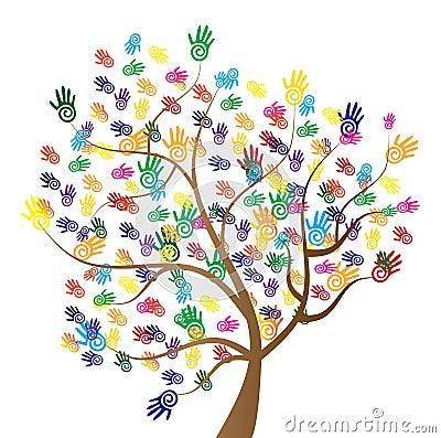 Diversity Tree Hands Cartoon Illustration