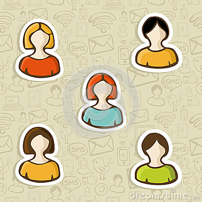 Diversity user profile icon set