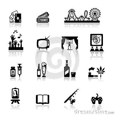 Divertimento ed intrattenimento fissati icone