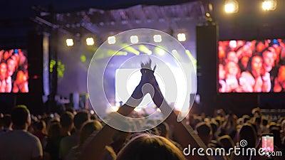 Divertissement de nuit, fille active de fan sautant et battant dans des personnes de foule au concert de musique en direct de roc clips vidéos