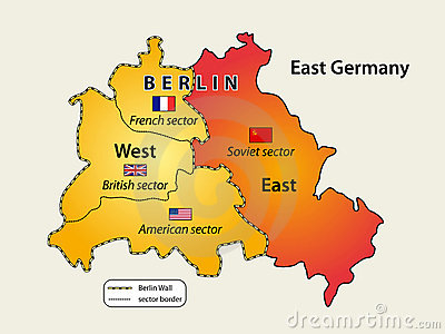 Divided Berlin during Cold War. Map of Berlin wall (1961 - 1989).