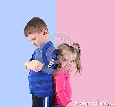 Divided Upset Children Back to back