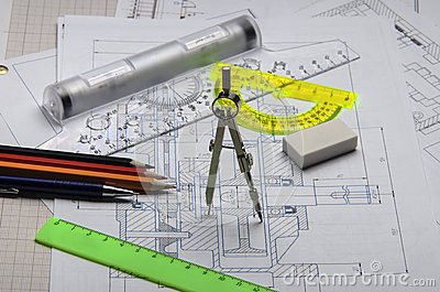 Dividers, ruler and pencil