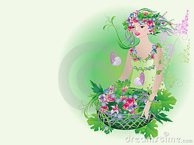 Divine Flora with a basket of fresh flowers