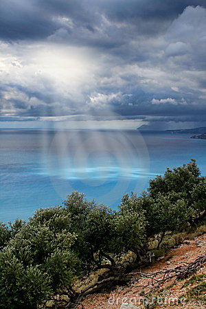 Divine light sky above sea