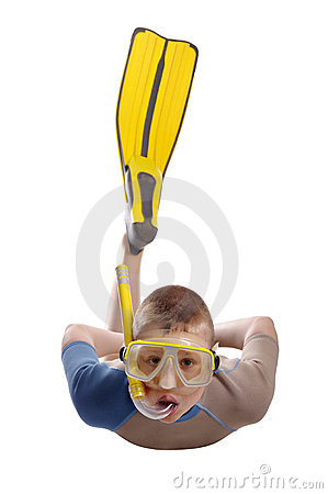 Diving boy with scuba and mask