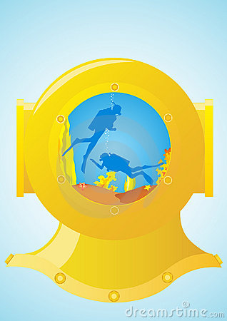 Diving helmet and scuba divers