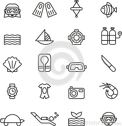 Free Diving Icon Set Stock Images - 60584574