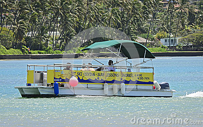 Diving lessons pontoon boat Editorial Photography