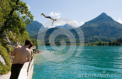 Diving in Wolfgangsee Editorial Stock Image