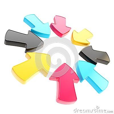 Divisa del símbolo de la atención de la flecha aislada