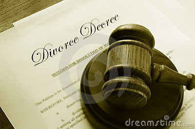Divorce papers and gavel