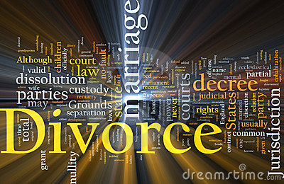 Divorce word cloud glowing