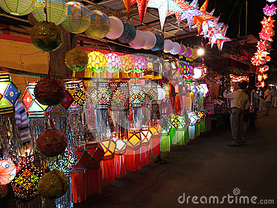 Diwali购物 图库摄影片
