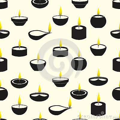 Free Diwali Candles With Flame Icons Seamless Pattern Royalty Free Stock Photo - 53472485