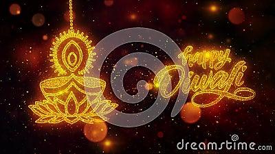 Diwali feliz Dipawali con el texto del festival del texto con las partículas de oro del brillo brillante 10