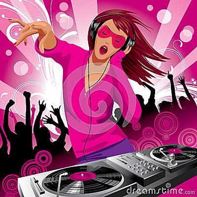 όμορφο κορίτσι του DJ
