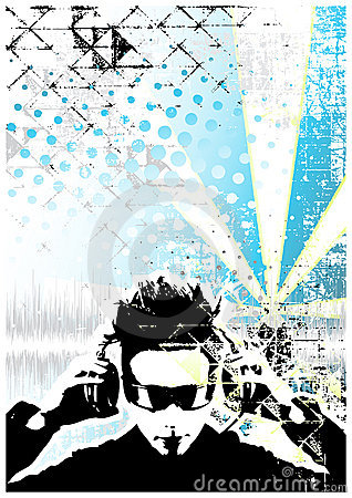 Free Dj Blue Poster Background Royalty Free Stock Photography - 10639297