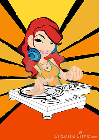 DJ girl in action