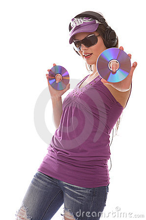 DJ Girl with cds