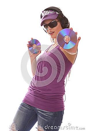 DJ Girl with cds